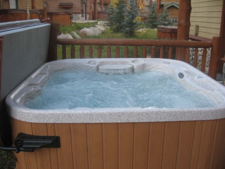 Private hot tub in back