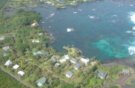 Aerial view of Alapai Point Road and the Kapoho Bay, Big Island Hawaii