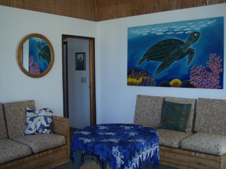 Downstairs recreation room with tropical theme