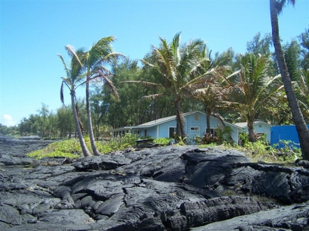 View of home from the oceanfront lava bluff