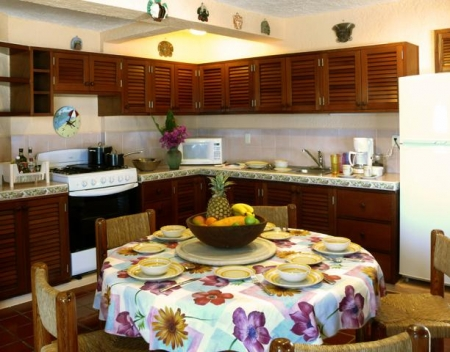 Eat-In Kitchen with Hand Made Mahogany Cabinets
