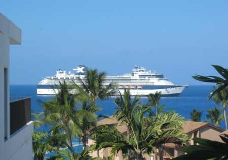 View of cruise ship from lanai