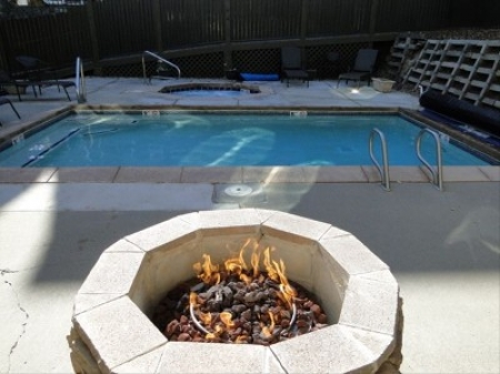 Heated Pool, Hot Tub and Fire Pit area